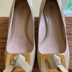 Prada, Nude Patent Leather Block Heel